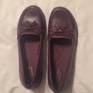 Clarks slip-on maroon leather shoes- 8 NARROW